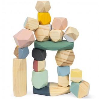 Dřevěné hračky - Kostky - Barevné, Sweet Cocoon kameny, 20ks (Janod)