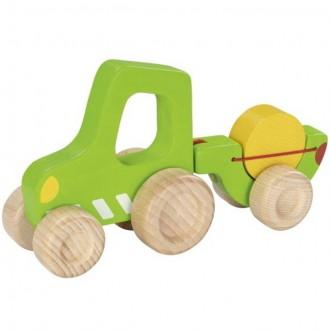 Dřevěné hračky - Auto - Traktor s vlečkou menší dřevěný (Goki)