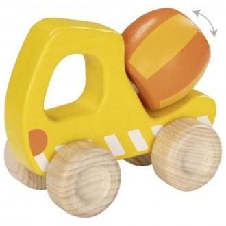 Dřevěné hračky - Auto - Betónová míchačka dřevěná (Goki)