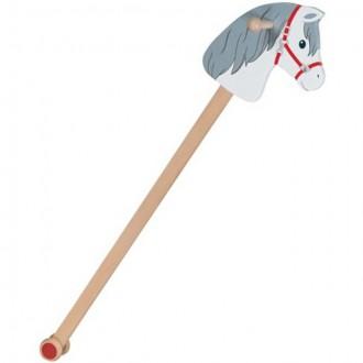 Dřevěné hračky - Koňská hlava na tyči - Dřevěná koník Mráček (Goki)