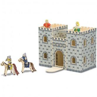 Dřevěné hračky - Hrad dřevěný - Přenosný kufříkový (M&D)