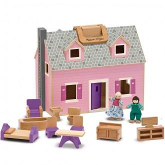 Dřevěné hračky - Domeček pro panenky - Přenosný kufříkový (M&D)