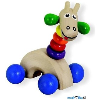 Dřevěné hračky - Zvířátko na kolečkách - Žirafa s rolničkou (Detoa)