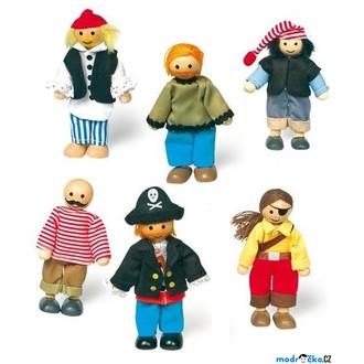 Dřevěné hračky - Panenky do domečku - Piráti, 6ks (Legler)