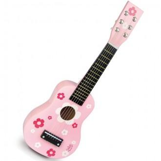 Dřevěné hračky - Hudba - Kytara, Růžová s květy, 6 strun (Vilac)