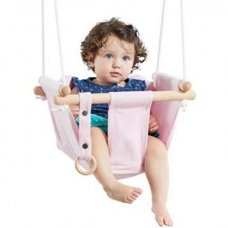 Na ven a sport - Houpačka - Dětská textilní 100% bavlna růžová