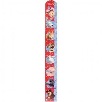 Dřevěné hračky - Metr skládací dřevěný - Máša a Medvěd červeno-modrý (Bino)