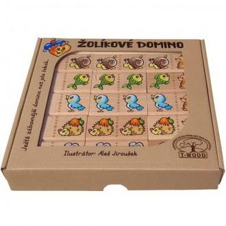 Dřevěné hračky - Domino - Masiv, Žolíkové zvířátka, 28ks