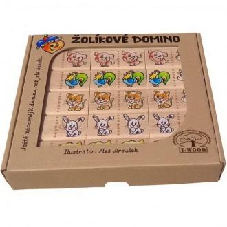 Dřevěné hračky - Domino - Masiv, Žolíkové domácí zvířata, 28ks
