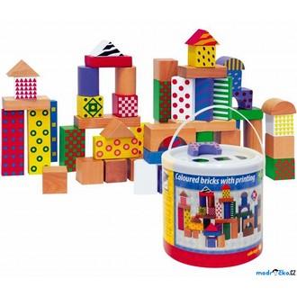 Stavebnice - Kostky - Barevné v kyblíku, Vhazovačka, s potiskem, 50ks (Woody)