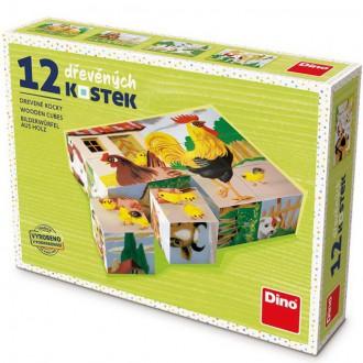 Stavebnice - Kostky obrázkové 12ks - Domácí zvířátka retro (Dino)