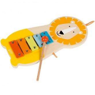 Dřevěné hračky - Hudba - Xylofon 5 tónů, Kovový lev (Goki)