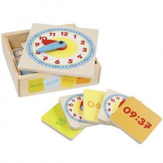 Dřevěné hračky - Hodiny - Dřevěné výukové v krabičce (Goki)