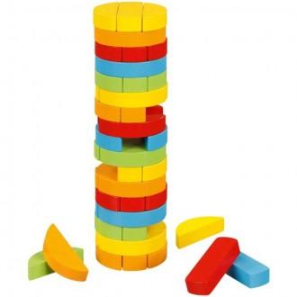 Dřevěné hračky - Jenga barevná - Oválná menlší (Goki)