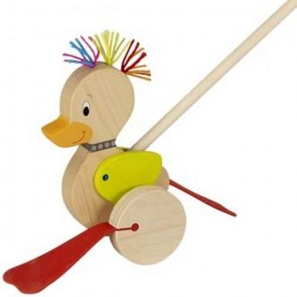 Dřevěné hračky - Jezdík na tyči - Plácačka, Kačenka punková (Goki)