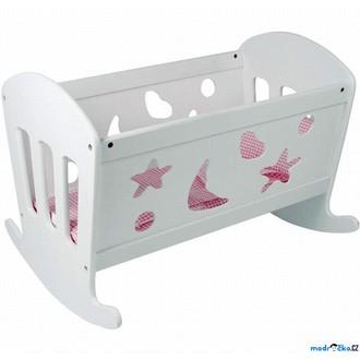 Dřevěné hračky - Kolébka pro panenky - Sen, bílá s ornamenty (Legler)