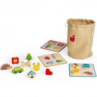 Dřevěné hračky - Didaktická hra - Hmatová, Senzorické pexeso (Janod)