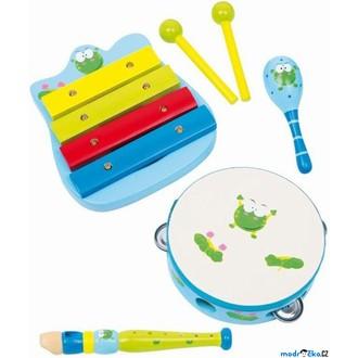 Dřevěné hračky - Hudba - Muzikální set, Žába, 4 nástroje (Legler)