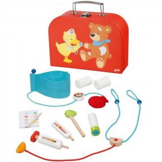 Dřevěné hračky - Doktor - Set v kufříku, Medvídek a kačenka (Goki)