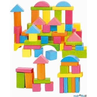 Stavebnice - Kostky - Barevné v kyblíku, Pastelové, 75ks (Woody)