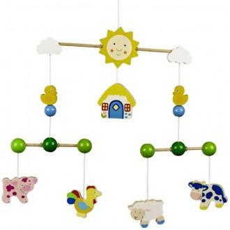 Dřevěné hračky - Kolotoč závěsný dřevěný - Farma se zvířátky (Goki)