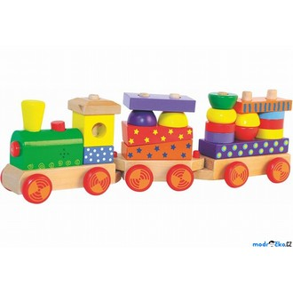Dřevěné hračky - Vlak skládací - S potiskem, světlem a zvukem (Woody)