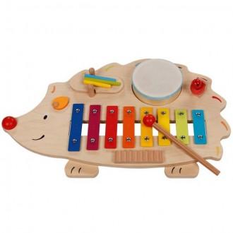 Dřevěné hračky - Hudba - Hudební stanice, Ježek (Goki)
