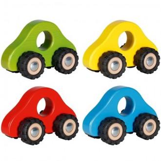 Dřevěné hračky - Auto - Barevné dřevěné s gumovými koly, 1ks (Goki)