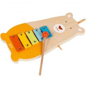 Dřevěné hračky - Hudba - Xylofon 5 tónů, Kovový medvěd (Goki)