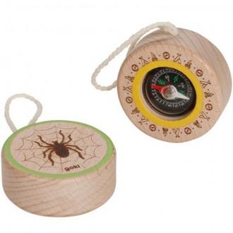 Dřevěné hračky - Dětský kompas - Přírodní s pavoukem (Goki)