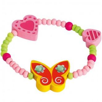 Dřevěné hračky - Dřevěná bižuterie - Náramek, Žlutý motýl (Bino)