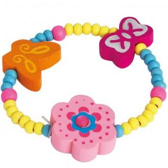Dřevěné hračky - Dřevěná bižuterie - Náramek, Růžová kytička (Bino)