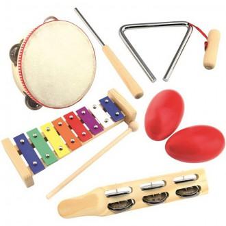 Dřevěné hračky - Hudba - Muzikální set, Músico, 5 nástrojů (Bino)