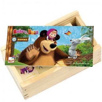 Dřevěné hračky - Domino - Máša a Medvěd dřevěné, 28ks (Bino)