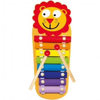 Dřevěné hračky - Hudba - Xylofon 8 tónů, Kovový lvíček (Bino)