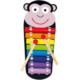 Dřevěné hračky - Hudba - Xylofon 8 tónů, Kovový opička (Bino)
