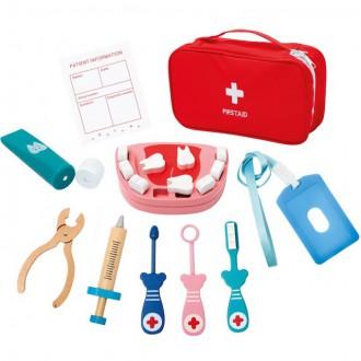 Dřevěné hračky - Doktor - Zubařský set Dentist v taštičce (Bino)