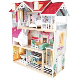 Dřevěné hračky - Domeček pro panenky - Velký třípatrový domeček (Bino)