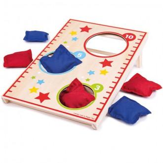 Dřevěné hračky - Házení na cíl - Deska s otvory, Hra polštářky (Bigjigs)