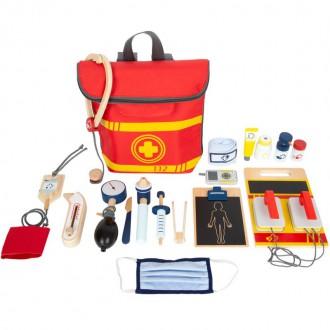 Dřevěné hračky - Doktor - Set v batohu, Záchranářský (Legler)