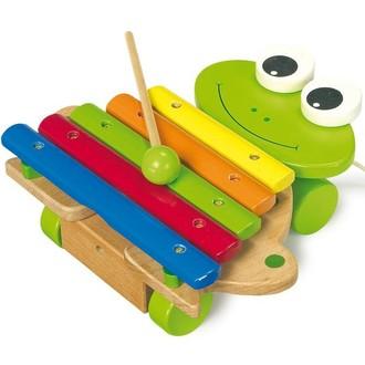 Dřevěné hračky - Hudba - Xylofon, Žába tahací na kolečkách (Legler)