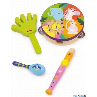 Dřevěné hračky - Hudba - Muzikální set, Safari, 4 nástroje (Legler)