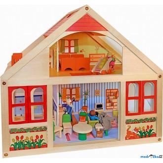 Dřevěné hračky - Domeček pro panenky - velký, Veronika (Woody)