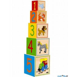JIŽ SE NEPRODÁVÁ - Pyramida - Věž z 5 kostek, Mašinka (Woody)