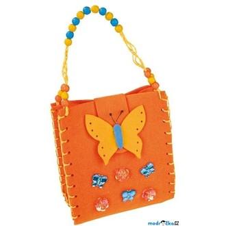 """JIŽ SE NEPRODÁVÁ - Kabelka filcová - Oranžová s motýlem """"Butterfly"""" (Legler)"""