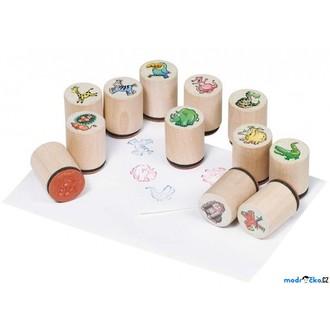 Dřevěné hračky - Razítka dřevěná - Divoká zvířata, 12ks (Goki)