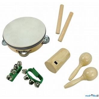 Dřevěné hračky - Hudba - Muzikální set, 8 dílů, přírodní (Bino)