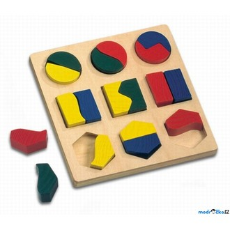 Dřevěné hračky - Vkládačka - Geometrické tvary půlené, menší (Bino)