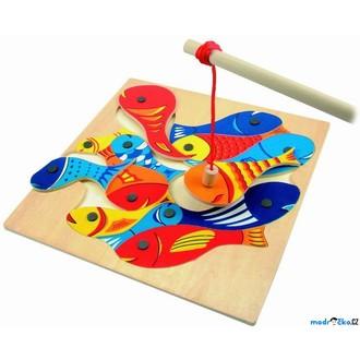 Dřevěné hračky - Magnetický rybolov - Puzzle na desce (Woody)