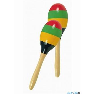 Dřevěné hračky - Hudba - Rumbakoule Maracas pruhované, 2ks (Bino)
